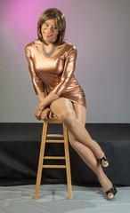 Copper Clad Curves! (kaceycd) Tags: pumps highheels metallic s tgirl stilettoheels pantyhose crossdress spandex lycra tg stilettos minidress wetlook sexypumps opentoepumps stilettopumps peeptoepumps