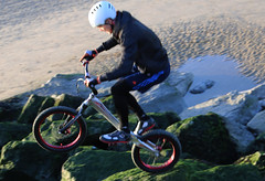 Breakwater Biker on Air (zaktari) Tags: mersey wirral newbrighton