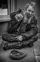 Street portrait of Tommy (Daz Smith) Tags: city uk portrait people urban blackandwhite bw man money streets male blancoynegro monochrome canon blackwhite bath candid homeless citylife thecity streetphotography cap thumbsup bearded canon6d dazsmith bathstreetphotography