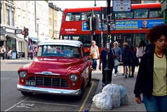 Portobello pick-up - DSCF0958a (normko) Tags: london portobello road street market chevy chevrolet pick up truck bus 3100 1956
