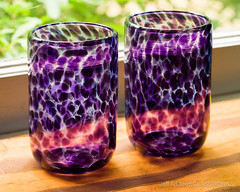Hyacinth Tumblers (Jeff Addicott) Tags: window glass purple bokeh etsy dots product hyacinth drinkware tumblers cill fe90 sonya7 sel90m28g