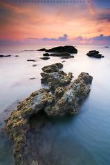 Low Tide Rocks (Hafiz.Soyuz.Photography) Tags: ocean morning sea beach coral clouds sunrise coast landscapes rocks outdoor tide low east kuala jara terengganu tanjung abang dungun