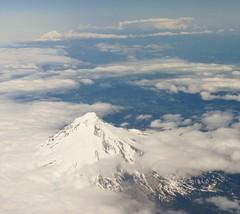Mt. Hood and Mt. Rainier (Stabbur's Master) Tags: oregon volcano nationalpark glacier mthood washingtonstate mtrainier cascaderange viewfromwindow viewfromplane mtrainiernationalpark palmerglacier zigzagglacier whiteriverglacier coalmanglacier