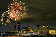 Fireworks over Liverpool Waterfront (ianandbarbara.bonnell@btinternet.com) Tags: city uk england urban skyline night liverpool buildings river boats cityscape nightscape fireworks pierhead disneymagic merseyside cruiseliner