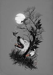 hide (nicebleed) Tags: moon tree bird art nature grass animals rock dark stars swan wolf hide strings