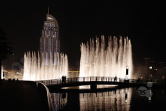 Dubai Fountain on Burj Khalifa Lake, Downtown Dubai, United Arab Emirates, Middle East (axelschmies photography) Tags: park urban lake public architecture modern daylight downtown dubai exterior outdoor uae middleeast financialdistrict architektur fountains  vae vereinigtearabischeemirate naherosten dubaimall businessbay vorderasien    theadress burjkhalifa