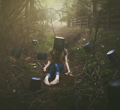 Bucket List (Shelby Robinson) Tags: light red portrait plant tree girl self canon hair rebel 50mm bucket sticks ditch dirt f18 t1i