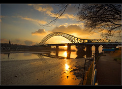 Wider still...... (Chrisconphoto) Tags: bridge sunset runcorn widnes goodlight