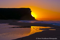 Reflection of the sunrise (Dawn Woodhouse) Tags: sea cliff reflection yellow sunrise tranquil garie wow1