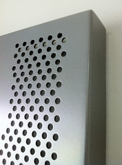 Perforated 'Rose' aluminium sheet Precious Pearl  finish Corner piece - Action Sheetmetal & Roofing (Action Sheetmetal) Tags: aluminium sheetmetal decorativescreen privacyscreen
