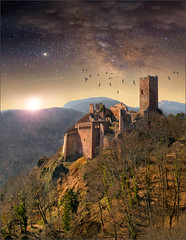 Secure ! (Jean-Michel Priaux) Tags: sunset sky panorama mountain france castle art rock forest photoshop montagne painting stars landscape roc star nikon medieval pointofview alsace chateau paysage magical protection hdr rocher fort vosges toiles ribeauvill muraille patrimoine milkyway d90 voielacte patrimony saintulrich priaux heroicfantasy mygearandme mygearandmepremium ringexcellence flickrstruereflection1