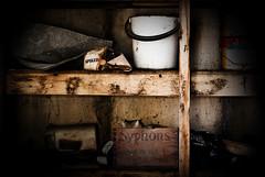 Found him! (monkeywing) Tags: sleeping colin cat found lost garage tabby dream shelf workshop hiding