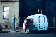 Tiny Caravan (TGKW) Tags: street light shadow portrait people woman window night standing little small krakow susie wee nightlife caravan on 7679