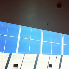 looking up. (jaletta) Tags: blue sky white lines architecture square shadows symmetry minimal squareformat symmetric hudson minimalistic linear iphoneography instagramapp uploaded:by=instagram