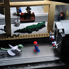 Spider-Man vs. the Lizard 2 (Xenomurphy) Tags: station fog subway comic lego spiderman super lizard hero superhero spidey marvel dillane frankdillane