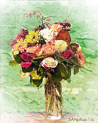 "2012-29 ""SWEET DREAMS OF SUMMER"" (SAMcRAE PHOTOGRAPHY) Tags: watercolor floralbouquet stonetexture"