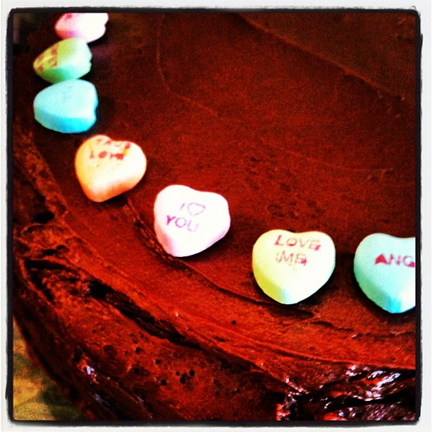 45/366 VALENTINES DAY. I come home to a chocolate cake made from scratch! Yummy!