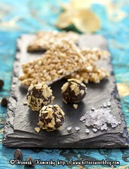 Potato Chip Truffles and Buttery Popcorn Brittle (Bitter-Sweet-) Tags: magazine dessert vegan candy sweet chocolate salty easy vegnews
