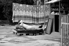 Take It Easy this Weekend! (Le*Gluon) Tags: street sleeping bw man booth relax bed nap sleep rest tajikistan dushanbe seller d90 tadjikistan douchanb