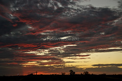 Sunset Kiss (Helen Vercoe) Tags: sunset sky night clouds lights mining machinery outback lighttrails southaustralia roxbydowns olympicdam