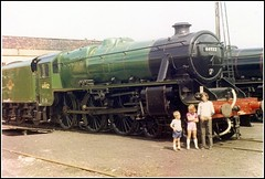 44932 Carnforth August 1973 (Tin Wis Vin) Tags: steam railways locos carnforth lms stanier black5 44932