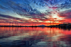 Dawn (Theophilos) Tags: sea sky reflection clouds marina boats dawn crete rethymno
