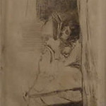 "<b>Reading in Bed</b><br/> James Abbott Whistler (1834-1903) ""Reading in Bed"" Etching, n.d. LFAC #075<a href=""http://farm8.static.flickr.com/7188/6926101359_9ff65e3da4_o.jpg"" title=""High res"">∝</a>"