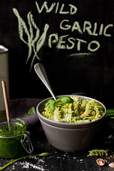 Wild garlic pesto fusilli (bognarreni) Tags: food black green spring pasta pesto wildgarlic foodphotographyfoodstyling