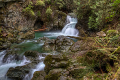 Lynn Canyon, Twin Falls (Basic Elements Photography) Tags: canada color green nature water vancouver forest canon waterfall rocks bc twinfalls 7d lynncanyon hdr highdynamicrange britishcolombia