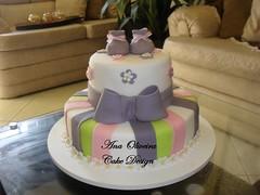 Bolo Ch de Beb Rosa e Lilais (Ana Oliveira Cake Design) Tags: de rosa e beb bolo ch lilais boloschdebeb boloschdefralda