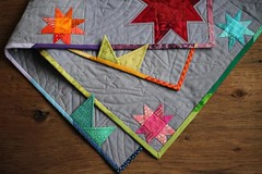 Rainbow Points (PatchworkPottery) Tags: modern stars rainbow quilt handmade points patchwork freemotion