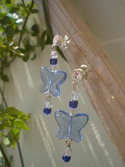 Blue glass butterfly earrings small (Gregelope) Tags: