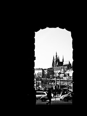 View of Prague Castle from Jan Palach Square (bohumil.klein) Tags: bw prague praha czechrepublic praguecastle eskrepublika