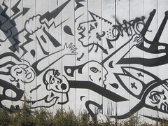 Social Political Mural (shaire productions) Tags: street people urban bw abstract art geometric monochrome fence person blackwhite artwork mural paint image artistic expression painted political arts style social scene monotone figure spraypaint figurative spraycan stylish imagery
