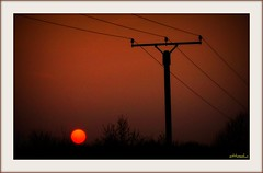 Sonnenball (ottosohn) Tags: sunset red orange rot germany evening abend sonnenuntergang sundown dusk powerpole abendrot abenddmmerung strommast trynka ottosohn mygearandme mygearandmepremium mygearandmebronze mygearandmesilver mygearandmegold mygearandmeplatinum mygearandmediamond