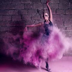she's dancing (Maegondo) Tags: pink light net canon germany bayern deutschland eos ballerina purple dancing action powder blonde shooting 28 topmodel ingolstadt 1755mm bavria 550d germanys strobist truthandillusion