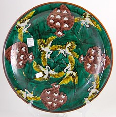 27. Asain Stork and Foliage Plate, Signed