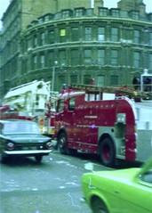 Vintage Fire Truck (tevans49) Tags: uk green london ford cortina fire birmingham unitedkingdom firefighter escort emergencyvehicle mk1 londonfirebrigade firevehicle workingfire cityofbirminghamfireambulancebrigade