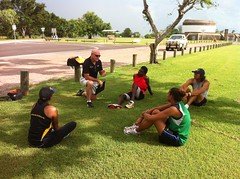 "Rob talking to the runners before the tryouts in Darwin • <a style=""font-size:0.8em;"" href=""https://www.flickr.com/photos/64883702@N04/7117263029/"" target=""_blank"">View on Flickr</a>"