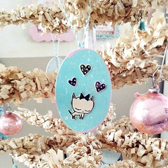 Mixed Media cute ornaments tutorial on the blog (holiday_jenny) Tags: pink girls cute art vintage easter diy spring aqua stamps mixedmedia craft stamp ornaments eggs stamping tutorial feathertree ashleyg