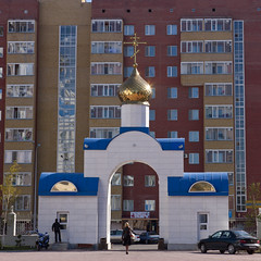 Russian Orthodox Church, Astana, Kazakhstan (Eric Lafforgue Photography) Tags: people woman building car architecture female square outside religious outdoors person arch exterior faith capital religion belief scooter structure christian flats cupola dome spirituality tradition centralasia orthodox kazakhstan kazakh humanbeing easterneurope astana appartments orthodoxchurch fullback squarepicture christiancross goldencupola akmola akmolinsk kz4133