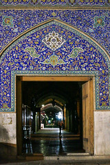Beautiful entrance of bazaar at night, Isfahan (inchiki tour) Tags: travel architecture night square photo arch iran decoration persia mosque tiles silkroad  esfahan islamic isfahan worldheritage imam    sheikhlotfollah   naqshejahansquare
