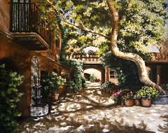 Summer Sun (Mary Palmer Artist) Tags: flowers building tree art fountain sunshine architecture garden painting acrylic arch shadows fineart sedona courtyard architectural spanish pottedplants archway acryliconcanvas
