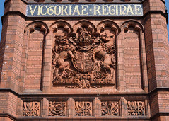 Victoriae Reginae (.annajane) Tags: uk england sculpture brick architecture liverpool coatofarms university mosaic lion royal relief unicorn redbrick merseyside victoriabuilding dieuetmondroit