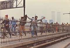 #legit I took this in 1982ish during the New York City transit strike. All modes of public transportation were shut down. We were on the Brooklyn bridge driving. Love the twin towers in the foggy vintage faded background. (www.higbyphotography.com) Tags: nyc newyorkcity brooklyn brooklynbridge twintowers lowermanhattan commuters transitstrike