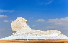 The Sphinx (dominiquesainthilaire) Tags: blue sky white sphinx clouds mushrooms sand nikon desert egypt sable limestone nuages blanc egypte champignons dsert calcaire cielbleu whitedesert westerndesert farafra dsertblanc nikond8o whitedesertnationalpark wadielobeyed
