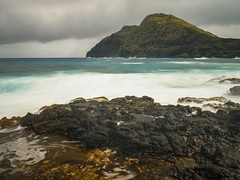 Misty Makapuu Morning (RobertCross1 (off and on)) Tags: ocean longexposure lighthouse seascape beach rock clouds landscape volcano hawaii lava surf waves oahu olympus pacificocean hi honolulu waimanalo windward omd makapuu em5 1250mmf3563mzuiko