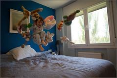 Feliz domingo (Periko .) Tags: blue window girl frozen jump jumping bed teddy hellokitty muppets teddybear intheair