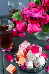 glass of Turkish tea and rahat Delight (lyule4ik) Tags: food brown white hot glass cookies up breakfast scarlet dessert break crystal tea drink sweet islam traditional beverage mint arabic east delicious cups arab delight blended pastry ceylon oriental orient aromatic ramadan hospitality turkish rahat authentic turk moroccan steep blend iftar serve aroma crystalline blacktea refresh steeped lokum