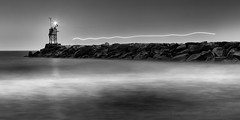 Ghost Ship (Larry Ferdinande) Tags: longexposure blackandwhite bw beach monochrome sunrise waves jetty le vabeach 1ststreetjetty firststreetjetty 757collective my7cities visitvabeach